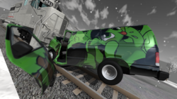 Size: 1920x1080 | Tagged: ahegao, artist:smoldix, beamng.drive, crash, custom, female, filly, irl, mod, oc, oc:filly anon, open mouth, photo, safe, screenshots, toy, train, van, video game