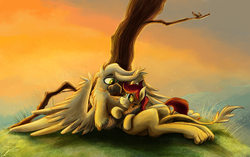 Size: 3276x2055 | Tagged: artist:jamescorck, earth pony, female, griffon, hill, male, mare, oc, oc:appleale, oc only, oc:steelwinghollowtooth, paws, pony, pov, safe, snuggling, tree, two toned mane