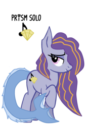 Size: 604x866 | Tagged: artist:missvintagelps, eyeshadow, fangs, female, half-siren, hybrid, magical lesbian spawn, makeup, mare, oc, oc only, oc:prism solo, parent:adagio dazzle, parent:coloratura, parents:adatura, pony, raised hoof, safe, simple background, siren, solo, transparent background