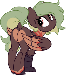 Size: 837x955 | Tagged: artist:kellythedrawinguni, butt, chest feathers, cute, dock, female, heart butt, heart eyes, hippogriff, hippogriff oc, looking at you, looking back, looking back at you, mare, markings, oc, oc only, oc:terracotta, plot, pony, raised tail, safe, simple background, solo, tail, talons, transparent background, wingding eyes, wing markings, wings