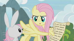 Size: 1920x1080 | Tagged: safe, screencap, angel bunny, fluttershy, pegasus, pony, rabbit, she talks to angel, animal, checklist, female, list, male, mare, messy mane, wing hands, wingers, wings