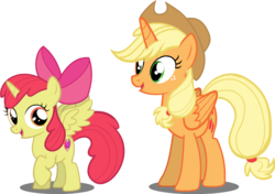 Size: 1000x704 | Tagged: alicorn, alicornified, apple bloom, applecorn, applejack, bloomicorn, everyone is an alicorn, pony, race swap, safe