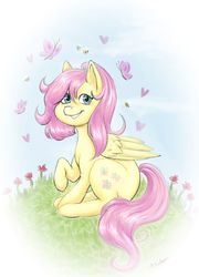 Size: 1024x1420 | Tagged: safe, artist:miistabsi, fluttershy, bee, butterfly, pegasus, pony, alternate hairstyle, female, flower, folded wings, grass, heart, looking at you, mare, outdoors, raised hoof, sitting, smiling, solo, wings