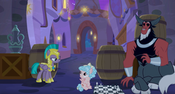 Size: 1920x1040   Tagged: safe, screencap, cozy glow, lord tirek, queen chrysalis, vanguard cover, centaur, pegasus, pony, the summer sun setback, barrel, canterlot, chess, chess piece, chessboard, cloven hooves, disguise, disguised changeling, female, filly, guardsmare, male, mare, nose piercing, nose ring, piercing, royal guard