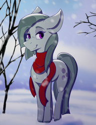 Size: 2975x3850 | Tagged: artist:lula-moonarts, chest fluff, clothes, cute, earth pony, female, marblebetes, marble pie, mare, pony, safe, scarf, snow, snowfall, solo, tree, winter