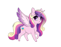 Size: 500x384 | Tagged: alicorn, artist:honiibree, colored hooves, cute, cutedance, eyebrows visible through hair, female, mare, pony, princess cadance, safe, simple background, smol, solo, spread wings, transparent background, two toned wings, wing fluff, wings