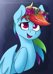 Size: 1280x1793 | Tagged: safe, artist:cadetredshirt, rainbow dash, pegasus, pony, cute, dashabetes, ear fluff, female, floral head wreath, flower, flower in hair, gradient background, looking up, mare, obtrusive watermark, open mouth, patreon, patreon logo, patreon reward, pleasantly surprised, raised hoof, simple background, smiling, solo, watermark, wings