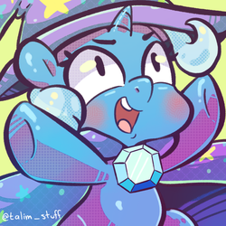 Size: 900x900 | Tagged: artist:talimingi, blushing, cape, chibi, clothes, cute, diatrixes, hat, open mouth, safe, solo, trixie, trixie's cape, trixie's hat