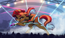 Size: 3705x2197 | Tagged: safe, artist:vanillaghosties, sunset shimmer, pony, unicorn, atg 2019, concert, electric guitar, female, guitar, high res, lidded eyes, lights, mare, newbie artist training grounds, open mouth, solo, stage, sunset shredder