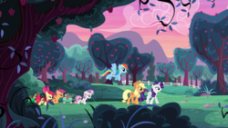 Size: 2880x1620 | Tagged: apple bloom, applejack, apple orchard, apple tree, cart, cutie mark crusaders, dawn, earth pony, female, filly, flying, foal, mare, orchard, pegasus, pony, rainbow dash, rarity, safe, scootaloo, screencap, sweet apple acres, sweetie belle, the cart before the ponies, tired, tree, unicorn