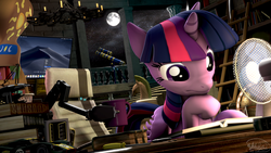 Size: 3840x2160 | Tagged: 3d, alicorn, artist:whiteskyline, book, bookshelf, boston dynamics, column, computer, confused, fan, ford gt le mans, ladder, library, monitor, moon, pony, safe, screwdriver, signature, solo, source filmmaker, telescope, twilight sparkle, twilight sparkle (alicorn)