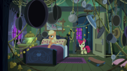 Size: 2400x1350 | Tagged: 28 pranks later, apple bloom, applejack, apple sisters, bed, bedroom, duo, earth pony, female, filly, foal, frying pan, mare, night, pony, pulley, rope, safe, screencap, siblings, sisters, skateboard