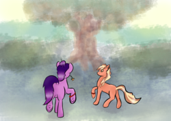 Size: 2480x1754 | Tagged: safe, artist:dumbprincess, kimono, earth pony, pony, complex background, couple, tree, walking