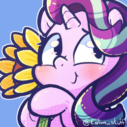Size: 900x900 | Tagged: artist:talimingi, blushing, chibi, flower, safe, smiling, starlight glimmer, sunflower, unicorn