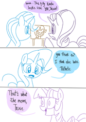 Size: 1000x1414 | Tagged: safe, artist:emositecc, starlight glimmer, trixie, twilight sparkle, alicorn, pony, unicorn, burn, comic, dialogue, pokémon, reference, twibitch sparkle, twilight sparkle (alicorn)