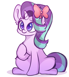 Size: 1131x1260   Tagged: safe, artist:mindash12, starlight glimmer, pony, unicorn, bow, chest fluff, colored pupils, cute, ear fluff, female, glimmerbetes, hair bow, leg fluff, mare, ribbon, simple background, sitting, solo, white background