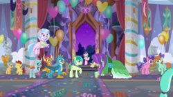Size: 1920x1080 | Tagged: safe, screencap, berry blend, berry bliss, citrus bit, gallus, lemon crumble, ocellus, peppermint goldylinks, rarity, sandbar, silverstream, smolder, yona, changedling, changeling, classical hippogriff, dragon, earth pony, griffon, hippogriff, pegasus, pony, yak, she's all yak, alternate hairstyle, balloon, bow, bowtie, claws, clothes, cloven hooves, colored hooves, colt, cutie mark, dragoness, dress, ear piercing, earring, eating, female, filly, flying, food, friendship student, hair bow, hyper sonic, jewelry, male, mare, necklace, paws, piercing, student six, teenager, wings