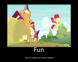 Size: 1074x860 | Tagged: apple bloom, applejack, artist:thejboy88, duo, edit, edited screencap, fun, going to seed, happy, jumping, motivational poster, pony, safe, screencap, spoiler:s09e10