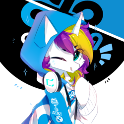 Size: 800x800 | Tagged: artist:heddopen, cheek fluff, chest fluff, clothes, cloud9, esports, female, headphones, hoodie, looking at you, mare, oc, oc only, oc:sprinkles, one eye closed, pony, safe, sitting, smiling, solo, starry eyes, tongue out, unicorn, wingding eyes, wink