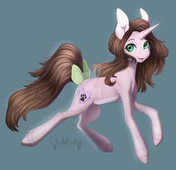 Size: 1024x989 | Tagged: safe, artist:noodlefreak88, oc, oc only, oc:cindy, pony, unicorn, bow, deviantart watermark, female, looking at you, mare, obtrusive watermark, solo, tail bow, watermark