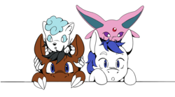 Size: 2700x1500 | Tagged: alolan vulpix, artist:freyacat, dracony, espeon, hybrid, kirin, oc, oc:onyx quill, oc:swift seraphic, pegasus, pokémon, safe, simple background