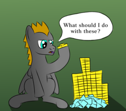 Size: 1157x1024 | Tagged: artist:platinumdrop, bits, gem, gradient background, male, oc, oc:platinumdrop, pegasus, pony, safe, simple background, solo, speech bubble, stallion