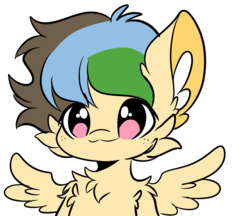 Size: 642x555 | Tagged: artist:smolsammichowo, bust, chest fluff, ear fluff, female, oc, oc:apogee, oc only, owo, pony, safe, simple background, solo, spread wings, transparent background, wings