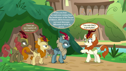 Size: 800x450 | Tagged: autumn afternoon, autumn blaze, bad idea, dialogue, dioxygen difluoride, edit, edited screencap, fluffy, foof, kirin village, maple brown, pony, safe, screencap, sounds of silence, sparkling brook, speech bubble