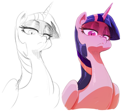 Size: 1199x1094 | Tagged: alicorn, artist:sunibee, female, frown, lidded eyes, looking down at you, mare, pony, safe, solo, twilight sparkle, twilight sparkle (alicorn), unamused