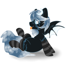 Size: 4584x4091 | Tagged: artist:hellishprogrammer, bat pony, bat pony oc, blank flank, clothes, colored sclera, ethereal mane, eye scar, female, mare, oc, oc only, oc:winter's night, pony, raised leg, safe, scar, simple background, sitting, socks, solo, starry mane, striped socks, tongue out, transparent background, ych result