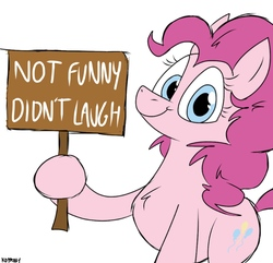 Size: 1125x1086   Tagged: safe, artist:kdbrony, pinkie pie, earth pony, pony, female, looking at you, mare, meme, reaction image, sign, simple background, smiling, solo