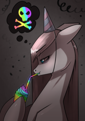 Size: 2480x3508 | Tagged: artist:underpable, atg 2019, confetti, cupcake, dark background, drinking straw, earth pony, food, hat, newbie artist training grounds, party hat, pinkamena diane pie, pinkie pie, pony, rainbow, rainbow cupcake, safe, skull and crossbones, streamers, thought bubble