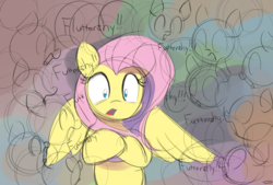 Size: 3496x2362 | Tagged: anxiety, artist:taurson, colored sketch, crowd, dialogue, female, fluttershy, mare, pegasus, pony, safe, surrounded, wide eyes, wings