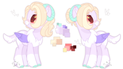 Size: 1280x716 | Tagged: artist:jxst-alexa, female, horns, hybrid, interspecies offspring, mare, oc, oc:panmela, offspring, parent:discord, parent:fluttershy, parents:discoshy, pegasus, pony, reference sheet, safe, simple background, solo, transparent background