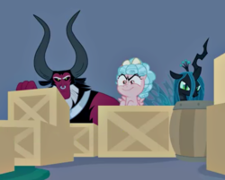 Size: 554x445 | Tagged: box, centaur, changeling, changeling queen, cozy glow, cozy glow is best facemaker, cropped, edit, edited screencap, female, filly, hiding, lord tirek, pegasus, pony, queen chrysalis, safe, screencap, spoiler:s09e17, the summer sun setback