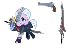 Size: 2598x1772 | Tagged: safe, artist:earth_pony_colds, pony, bionic arm, bionic hoof, clothes, coat, concept art, demon hunter, devil may cry, devil may cry 5, gun, handgun, nero (devil may cry), prosthetics, revolver, robotic hoof, show accurate, sword, weapon