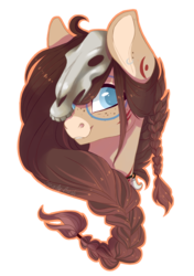 Size: 882x1255 | Tagged: safe, artist:shady-bush, oc, oc only, oc:ondrea, pony, bust, female, mare, portrait, simple background, skull, solo, transparent background