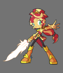 Size: 950x1100 | Tagged: artist:rvceric, clothes, equestria girls, female, fiery shimmer, fire, ponied up, safe, simple background, solo, sunset shimmer, sword, weapon