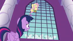Size: 1920x1080 | Tagged: alicorn, between dark and dawn, butt, fluttershy, plot, pony, safe, screencap, spoiler:s09e13, swan, twilight sparkle, twilight sparkle (alicorn)