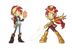 Size: 1600x1100 | Tagged: safe, artist:rvceric, sunset shimmer, equestria girls, clothes, crystal guardian, female, fiery shimmer, fire, jacket, pants, ponied up, simple background, solo, sword, weapon, white background