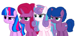 Size: 1920x929 | Tagged: alicorn, alicorn oc, artist:徐詩珮, base used, cousins, female, half-siblings, magical lesbian spawn, mare, next generation, oc, oc:betty pop, oc:storm lightning, oc:vesty sparkle, offspring, parent:flash sentry, parent:glitter drops, parents:flashlight, parents:glittershadow, parent:spring rain, parents:springshadow, parent:tempest shadow, parent:twilight sparkle, pony, princess flurry heart, safe, siblings, simple background, sisters, transparent background, unicorn, vector