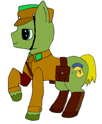 Size: 1390x1684 | Tagged: safe, artist:dr. nick taco, oc, oc:mercury flash, earth pony, pony, /mlpol/, boots, clothes, german, leg in air, mailbag, mailman, male, military, shoes, soldier, standing, uniform