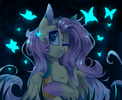Size: 3000x2444 | Tagged: safe, artist:mediasmile666, fluttershy, butterfly, pegasus, pony, bust, chest fluff, colored hooves, eye reflection, female, glow, gritted teeth, looking at something, looking sideways, looking up, mare, night, one eye closed, portrait, reflection, solo, stray strand, three quarter view, wings