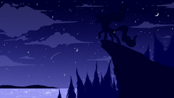 Size: 1920x1080 | Tagged: safe, artist:hilloty, part of a set, princess luna, alicorn, pony, cloud, crescent moon, meteor, moon, night, scenery, shooting star, silhouette, sky, solo, stars, tree, wallpaper, water