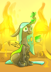 Size: 2480x3508 | Tagged: artist:underpable, atg 2019, bloodshot eyes, changeling, changeling queen, cheese, cup, female, fire, food, magic, meme, mug, newbie artist training grounds, queen chrysalis, safe, sitting, smelly, smiling, solo, telekinesis, this is fine, three quarter view