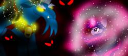Size: 2000x880 | Tagged: safe, artist:katya, grogar, twilight sparkle, fight, magic, series finale