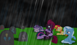 Size: 6568x3882 | Tagged: alicorn, applejack, artist:ejlightning007arts, cemetery, crying, death, fluttershy, hug, pinkie pie, pony, rain, rainbow dash, rarity, sad, safe, starlight glimmer, sunset shimmer, teary eyes, tempest shadow, tombstones, trixie, twilight sparkle, twilight sparkle (alicorn)