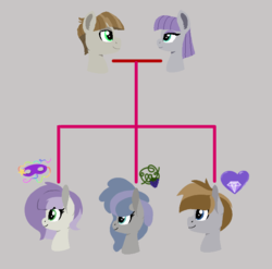 Size: 687x680 | Tagged: artist:samitham, family tree, female, male, maudbriar, maud pie, mudbriar, oc, offspring, parent:maud pie, parent:mud briar, parents:maudbriar, pony, safe, shipping, straight