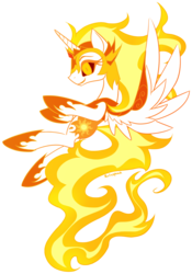 Size: 700x1000 | Tagged: alicorn, armor, artist:rainspeak, crazy eyes, cutie mark, daybreaker, female, fire, flying, hoof shoes, mane of fire, mare, pony, safe, simple background, solo, spread wings, transparent background, wings