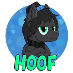 Size: 4000x4000   Tagged: safe, artist:exobass, oc, oc only, oc:grayhoof, pegasus, pony, badge, clothes, commission, design, gray, hater, hooves, male, scarf, shirt, shirt design, simple background, stallion, transparent background